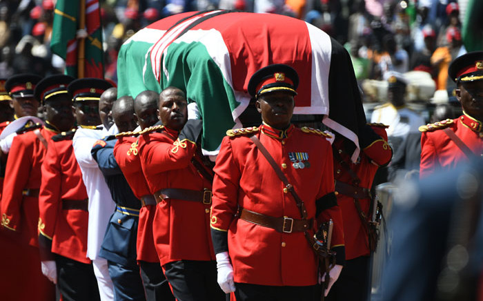 Military officers carrying the coffin of the late former Kenyan President, Daniel Arap Moi, draped in the Kenya national flag, during a state funeral service in Nairobi on 11 February 2020. Picture: AFP