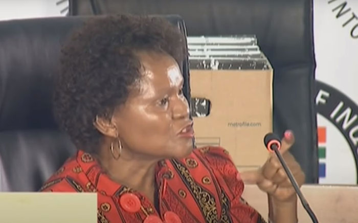 A YouTube screengrab of former SAA Technical board chair and SAA board member Yakhe Kwinana appearing at the state capture inquiry on 2 November 2020.