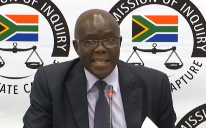 A YouTube screengrab shows former Free State Agriculture Department head Peter Thabethe at the state capture inquiry on 28 October 2019.