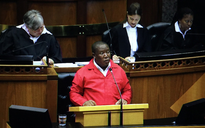 FILE: EFF leader Julius Malema delivers his speech during a Joint Sitting on Parliament to debate the State of the Nation Address on 17 February 2015. Picture: Thomas Holder/EWN