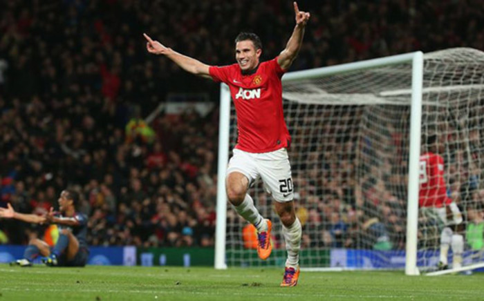 Manchester United's Robin Van Persie celebrates his goal against Olympiakos in the Champions League match on 19 March 2014. Picture: Facebook.