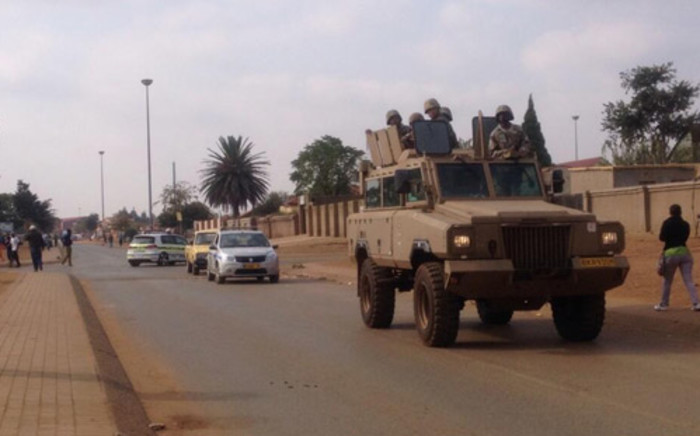 South African National Defence Force cars were deployed to patrol the street of Bekkersdal ahead of the national elections. Picture: Govan Whittles/EWN.