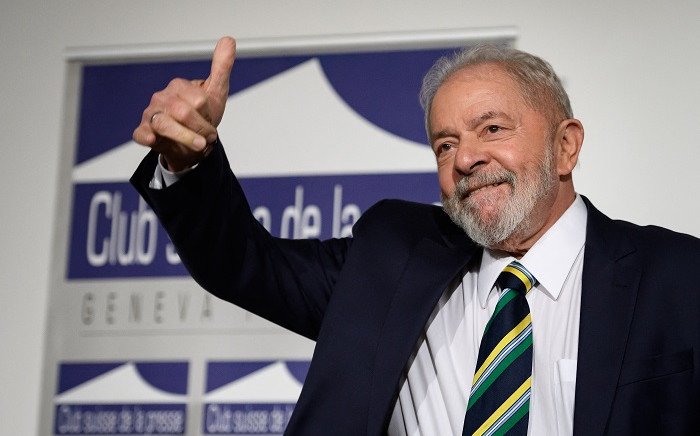 """In this file photo taken on March 06, 2020, former Brazilian president Luiz Inacio Lula da Silva gives a thumb up during an event titled: """"Dialogue about inequality with global unions and general public"""" at the Geneva Press Club in Geneva. Picture: Fabrice Coffrini/ AFP."""