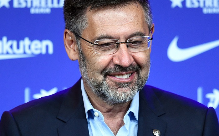 Barcelona's president Josep Maria Bartomeu smiles during the official presentation of new Dutch coach Ronald Koeman at the Camp Nou stadium in Barcelona on August 19, 2020. Picture: AFP