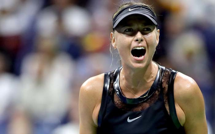 Maria Sharapova of Russia reacts to winning against Simona Halep during their first round match. Picture: @usopen/Twitter