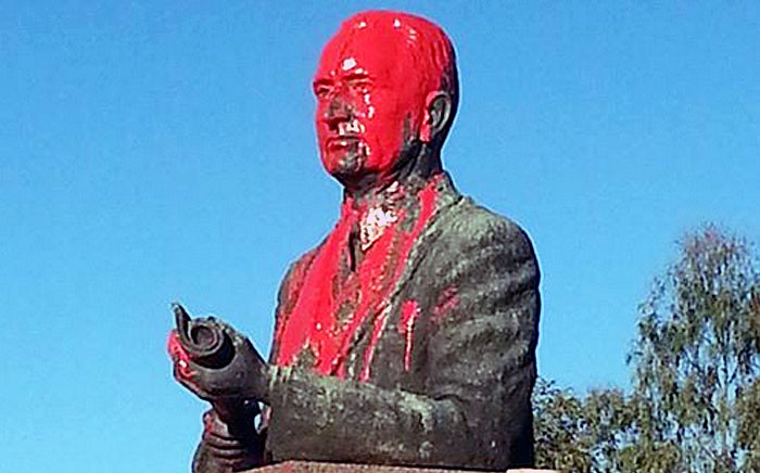 FILE: The Prime Minister Johannes Gerhardus Strijdom was defaced with red paint on 15 April 2015. Picture: Charl Blignaut via Twitter.