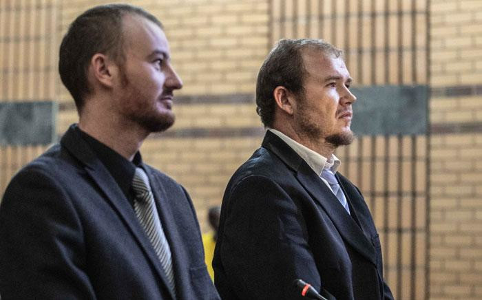 Pieter Doorewaard and Phillip Schutte in the North West High Court in Mahikeng on 31 January 2019 ahead of their sentencing. The duo was found guilty of the murder of 16-year-old Matlhomola Moshoeu in Coligny. Picture: Abigail Javier/EWN
