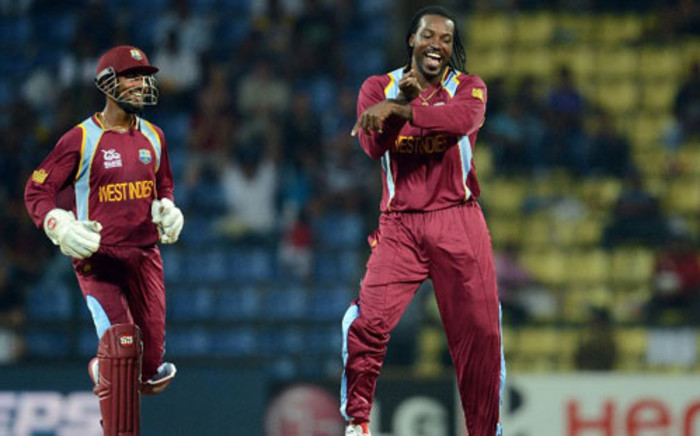West Indies cricketer Chris Gayle (R). Picture: AFP