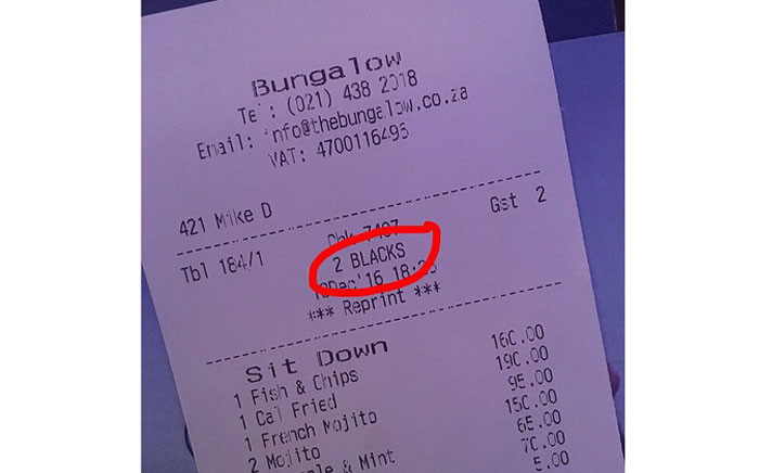 A screengrab shows the receipt given to two customers at the Bungalow restaurant in Clifton, Cape Town. Picture: @Scott_Maq
