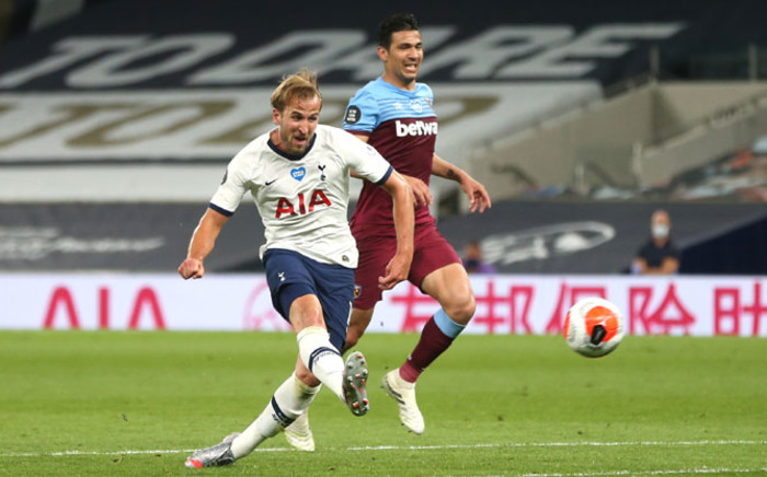 Tottenham forward Harry Kane scores against West Ham in their English Premier League match on 23 June 2020. Picture: @SpursOfficial/Twitter
