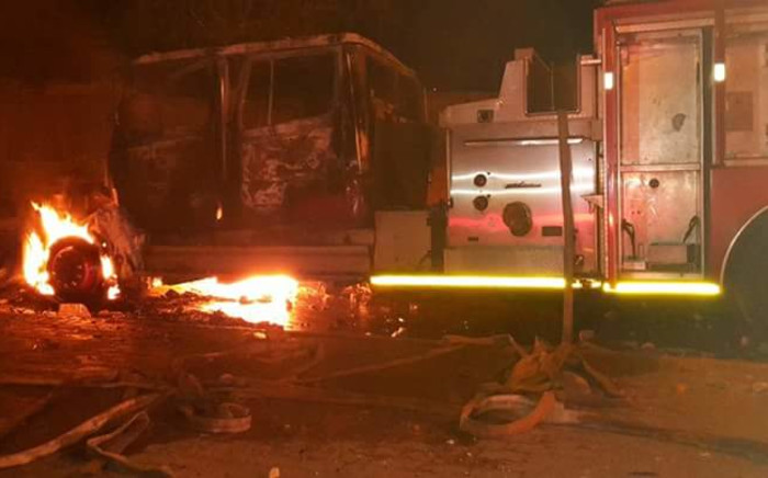 A fire engine was stoned and set then alight in Soweto on 5 August 2015. Picture: Supplied