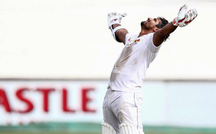 Kusal Perera celebrates after batting Sri Lanka to victory over South Africa. Picture: @OfficialSLC/Twitter.
