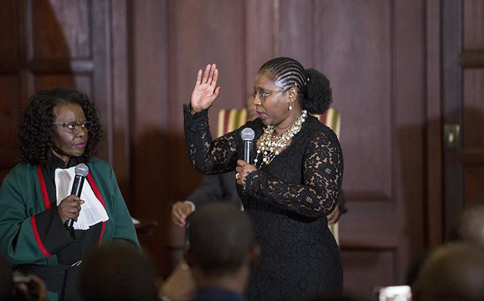 FILE: Minister of Communications Ayanda Dlodlo takes her oath during the swearing in ceremony of President Jacob Zuma's new cabinet on 31 March 2017. Picture: Reinart Toerien/EWN