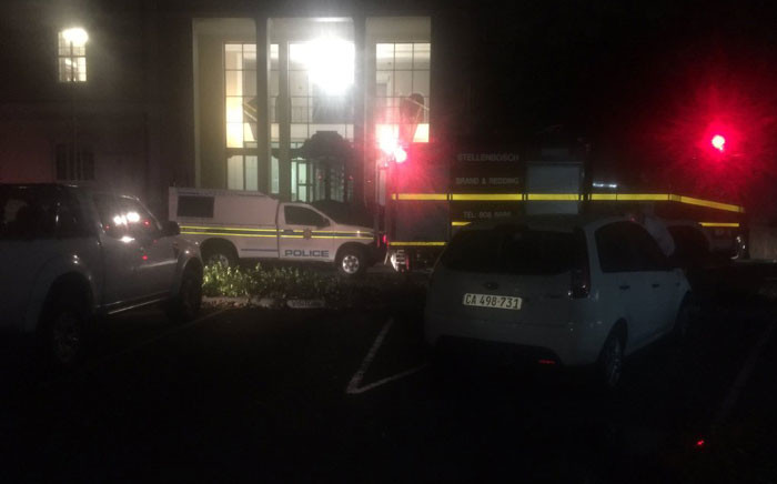 Police arrived at the admin building at Stellenbosch University following a violent protest on 10 March 2016. Picture: Monique Mortlock/EWN.