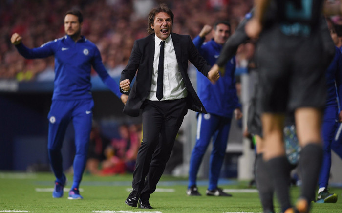 Chelsea manager Antonio Conte celebrates a goal. Picture: @ChelseaFC/Twitter