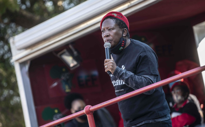 EFF leader Julius Malema speaks at the party's solidarity protest with the 'Black Lives Matter' movement outside the US embassy in Pretoria. Pictures: Abigail Javier/EWN