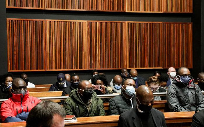 The accused in the VBS Mutual Bank theft scandal appear in the Palm Ridge Regional Court on 18 June 2020. Picture: Kayleen Morgan/EWN