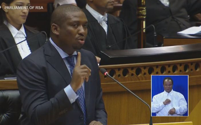 A screengrab of ANC MP Buti Manamela speaking in Parliament during the second day of the State of the Nation Address debate.