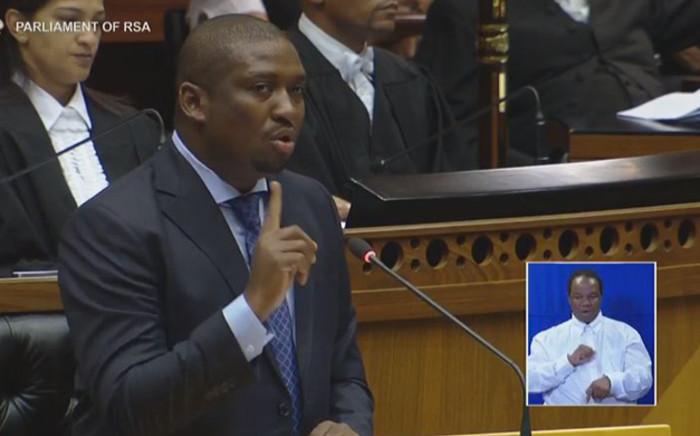 Deputy Minister in the Presidency Buti Manamela speaking in Parliament on 17 February 2017.
