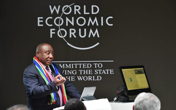 President Cyril Ramaphosa at the World Economic Forum in Davos, Switzerland. Picture: PresidencyZA/Twitter