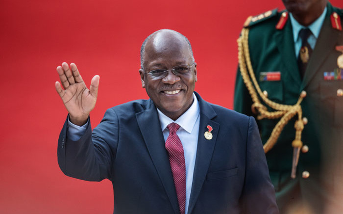 FILE: Tanzanian President John Pombe Magufuli gestures while arriving at the Loftus Versfeld Stadium in Pretoria, South Africa, for the inauguration of Incumbent South African President Cyril Ramaphosa on 25 May 2019. Picture: AFP