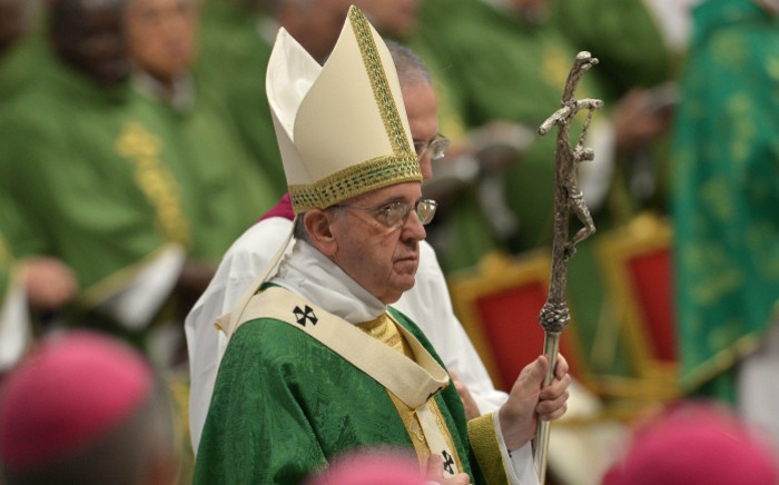 FILE: Pope Francis leads a mass for the opening of the synod on the family on 4 October 2015 at St Peter's Basilica in Vatican. Picture: AFP.