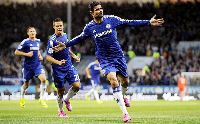 Chelsea's Diego Costa celebrates after scoring against Burnley in the EPL on 18 August 2014. Picture: Official Chelsea Facebook Page.