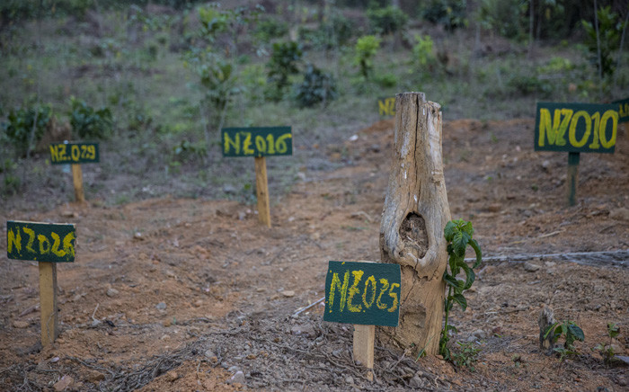 Graves with numbers of people who have died of Ebola. Picture: United Nations Photo.