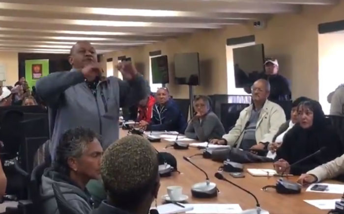 A man makes a point during the backyarders summit at the Castle of Good Hope on 29 August 2019. Picture: EWN