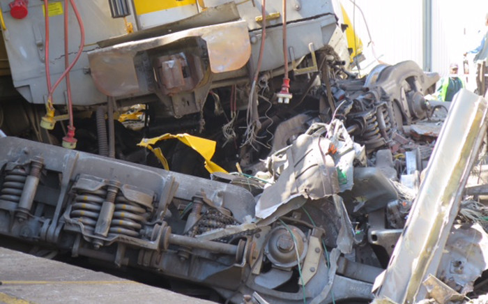 Wreckages of two trains that collided at Denver Station, Southeast of Johannesburg on 28 April 2015. Picture: Louise McAuliffe/EWN.