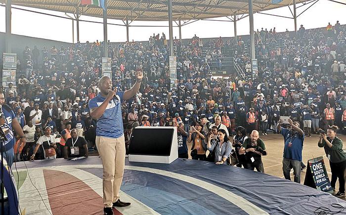 DA leader Mmusi Maimane addresses supporters at the party's 2019 Gauteng elections manifesto in Pretoria. Picture: @Our_DA/Twitter