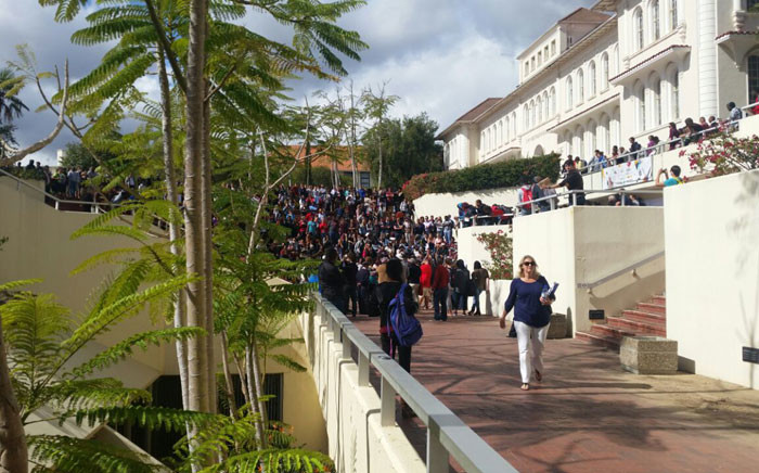 FILE: Students gather at Stellenbosch University during an open dialogue to discuss issues of inclusion and exclusion on 15 April 2015. Picture: iWitness.