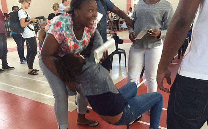 New Eisleben High School collapses after receiving her matric results on 5 January 2016. Picture: Monique Mortlock/EWN.