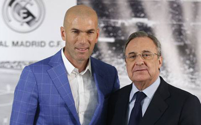 Real Madrid's coach Zinedine Zidane and Real Madrid's President Florentino Perez. Picture: Real Madrid official Facebook page.