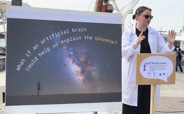 Dr Michelle Lochner at the Soapbox Science initiative in Cape Town. Picture: Kevin Brandt/EWN.