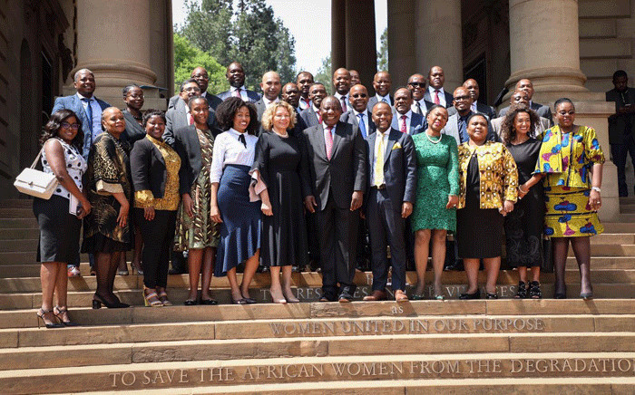 President Cyril Ramaphosa with the Black Business Council after their meeting at the Union Buildings. Picture: Abigail Javier/EWN.