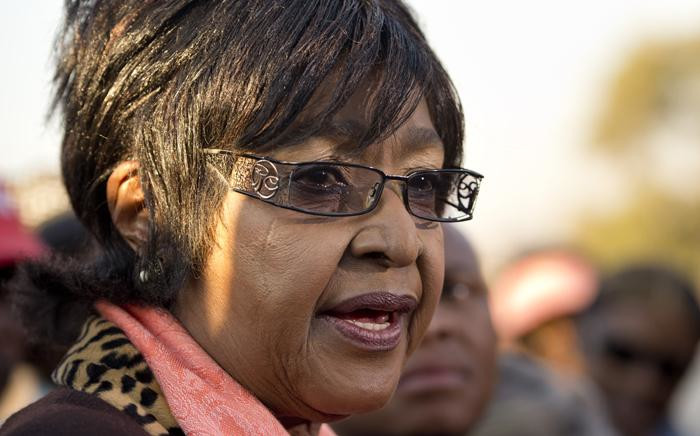 In this file photo taken on 28 June 2013 The former wife of Nelson Mandela, Winnie Mandela Madikizela, speaks to the media outside their first family home in Soweto. Picture: AFP