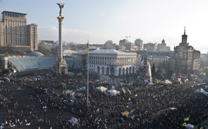 FILE: Anti-government protesters demonstrate at the Independent square, known as Maidan, in Kiev on 20 February, 2014. Picture: AFP.