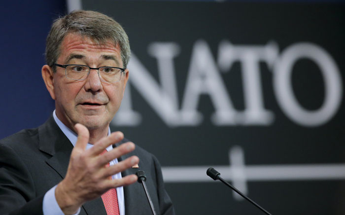 US Secretary of State for Defence Ashton Carter gives a press conference on the second day of the Nato Defense Ministers Council at alliance headquarters in Brussels, Belgium, 11 February 2016. Picture: EPA/OLIVIER HOSLET.