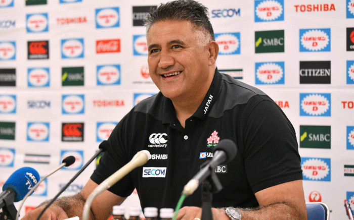 FILE: Japan's rugby head coach Jamie Joseph smiles as he answers questions during a press conference in Tokyo on 27 June 2018. Picture: AFP