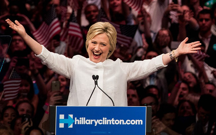 FILE: Democratic presidential candidate Hillary Clinton arrives onstage during a primary night rally at the Duggal Greenhouse in the Brooklyn Navy Yard, 7 June, 2016 in the Brooklyn borough of New York City. Picture: AFP.