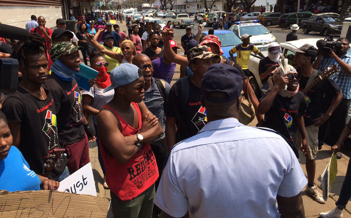 FILE: Students protest at the offices of the department of higher education and training. Picture: Barry Bateman/EWN