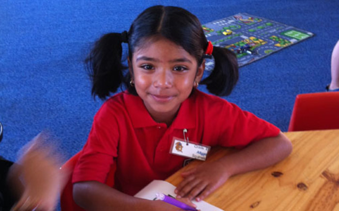 Atiyyah Moola on her first day of school. Picture: iWitness