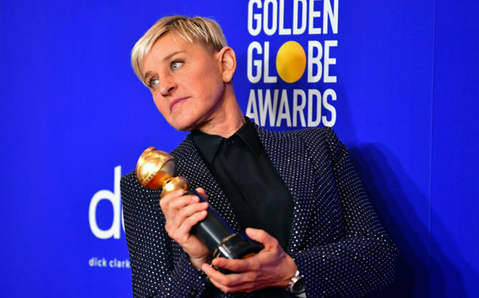 FILE: US actress and TV host Ellen DeGeneres poses in the press room with the Carol Burnett award during the 77th annual Golden Globe Awards on 5 January 2020, at The Beverly Hilton Hotel in Beverly Hills, California. Picture: AFP