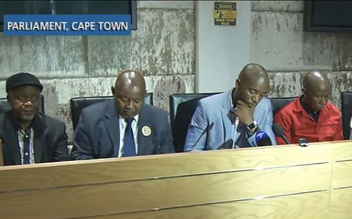 Leaders of opposition parties brief the media on the upcoming motion of no confidence in Jacob Zuma, the postponed Sona, the state of Parliament and a possible national shutdown. Picture: YouTube screengrab.