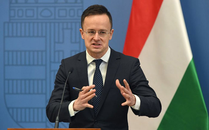 Hungary's Minister of Foreign Affairs and Trade Peter Szijjarto gives a joint press conference with the British Foreign Minister (not in picture) following talks in Budapest on 2 March 2018. Picture: AFP.