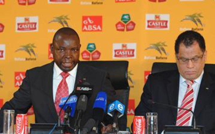 Safa President Kirsten Nematandani (L) and his deputy Danny Jordaan (R) at a press conference on 24 June 2011. Picture: Supplied