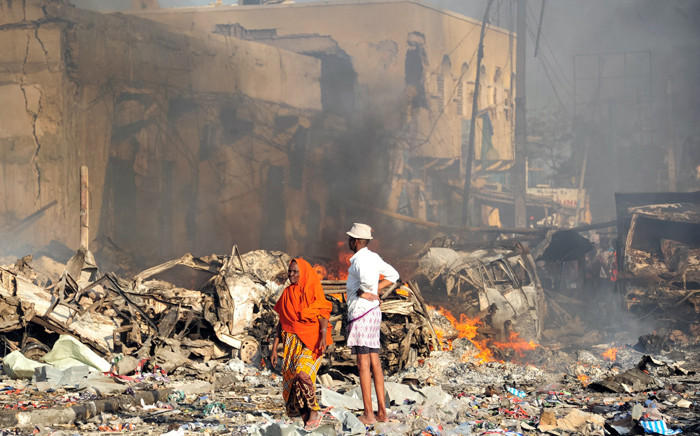 FILE: Aftermath of a blast in Mogadishu in October 2017.  Picture: AFP
