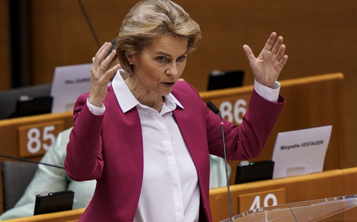 European Commission President Ursula von der Leyen speaks during a plenary session of the European Parliament in Brussels on 27 May 2020, amid the crisis linked with the Covid-19 pandemic caused by the novel coronavirus. Picture: AFP