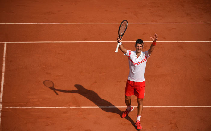 Novak Djokovic celebrates a win at the French Open on 3 June 2021. Picture: @rolandgarros/Twitter